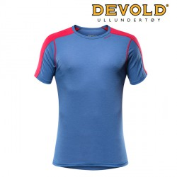 KOSZULKA DEVOLD SPORT MAN T-SHIRT TWILIGHT/RED