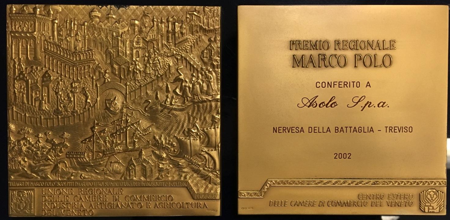 Regionalna nagroda Marco Poloprzyznana firmie Asolo w 2002 roku